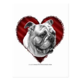 Bulldog with Heart Postcard