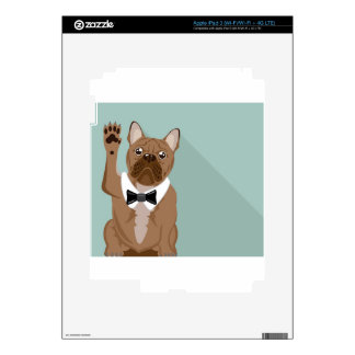 Bulldog with paw up iPad 3 skin
