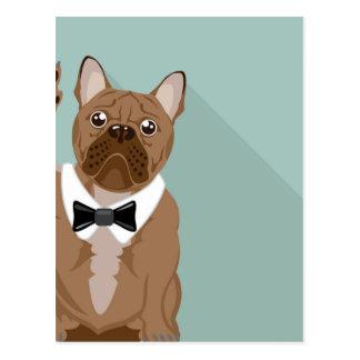 Bulldog with paw up postcard