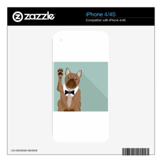 Bulldog with paw up skin for the iPhone 4S