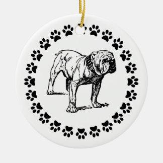Bulldog with Pawprints Ceramic Ornament