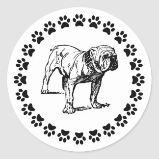 Bulldog with Pawprints Classic Round Sticker
