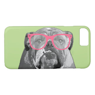 Bulldog with Pink Glasses Cute Funny Phone Case