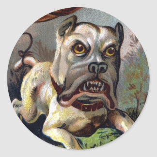 Bulldog with Pot Tied To Tail Victorian Trade Card Classic Round Sticker