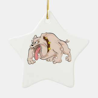 Bulldog with Tongue Sticking Out Double-Sided Star Ceramic Christmas Ornament