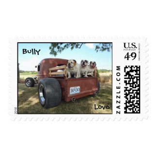 Bulldogs and Rat Rods Bully Love Postage