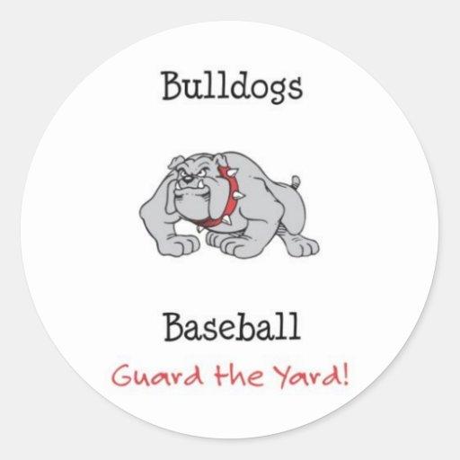 Bulldogs Baseball Guard the Yard! Classic Round Sticker