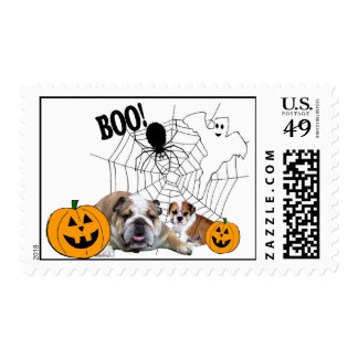 Bulldogs Halloween Postage Stamp
