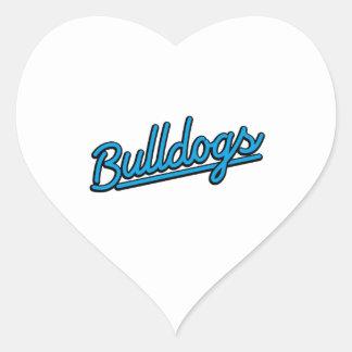 Bulldogs in cyan heart sticker
