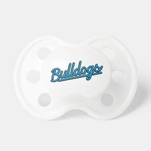 Bulldogs in cyan pacifiers