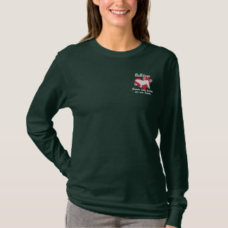 Bulldogs Leave Paw Prints Embroidered Long Sleeve T-Shirt