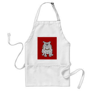 Bulldogs Mascot on Red Dog Lover Gifts Adult Apron