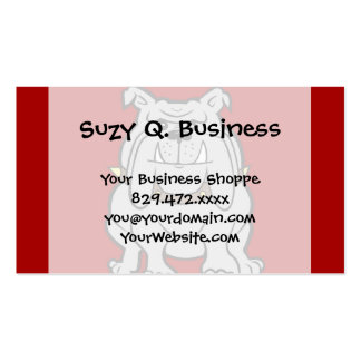 Bulldogs Mascot on Red Dog Lover Gifts Double-Sided Standard Business Cards (Pack Of 100)