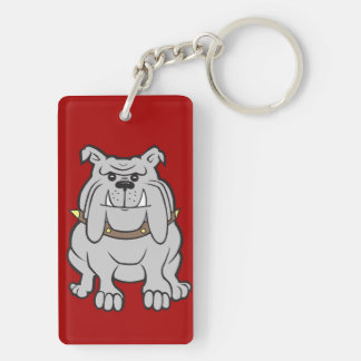 Bulldogs Mascot on Red Dog Lover Gifts Keychain