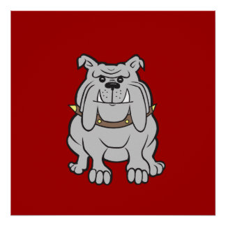 Bulldogs Mascot on Red Dog Lover Gifts Poster