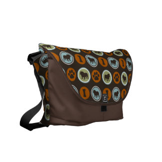 Bulldogs Pattern with Paw Prints and Dog Biscuits Messenger Bag