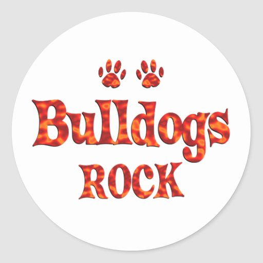 Bulldogs Rock Round Sticker
