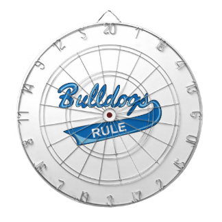 BULLDOGS RULE DARTBOARD WITH DARTS