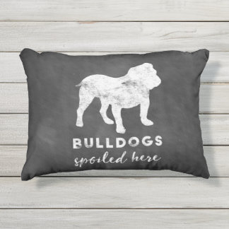 Bulldogs Spoiled Here Vintage Chalkboard Outdoor Pillow