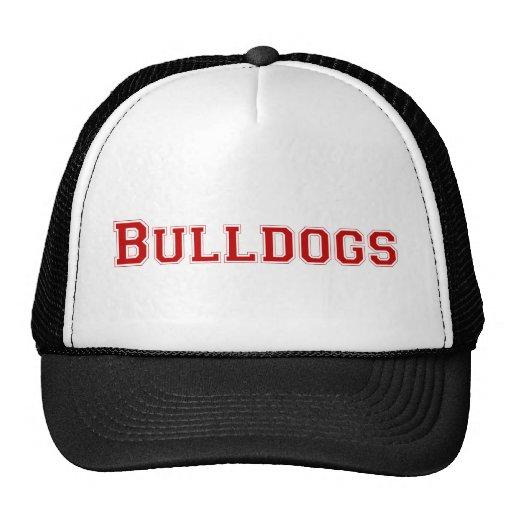 Bulldogs square logo  in red trucker hat