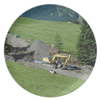 Bulldozer and greenery party plates