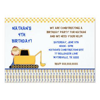Bulldozer Birthday Party Invitation