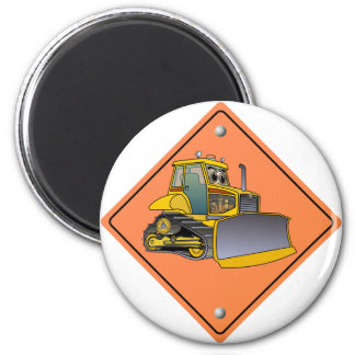 Bulldozer Cartoon Construction Sign Magnet