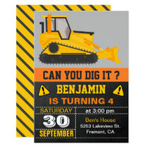 Bulldozer Construction Birthday Party Invitation