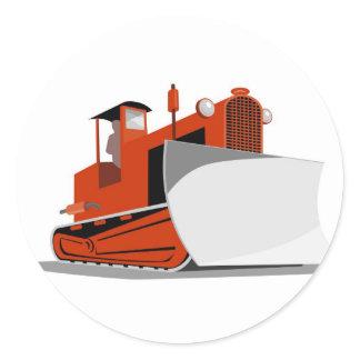 bulldozer construction equipment machinery classic round sticker