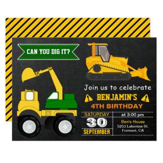 Bulldozer Construction Kids Birthday Party Invite