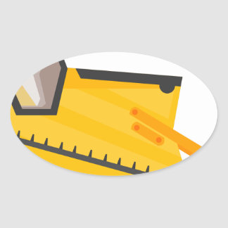 Bulldozer Construction Machine Oval Sticker