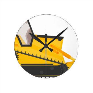 Bulldozer Construction Machine Round Clock