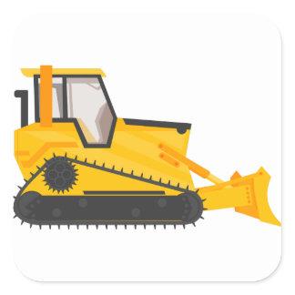 Bulldozer Construction Machine Square Sticker