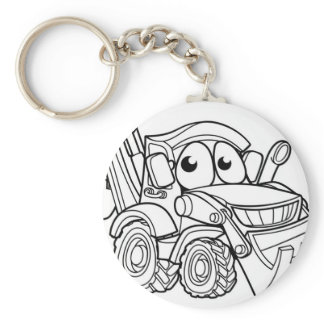 Bulldozer Digger Cartoon Character Keychain