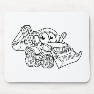 Bulldozer Digger Cartoon Character Mouse Pad