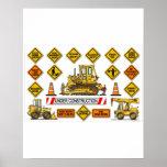 Bulldozer Dozer Construction Signs Poster