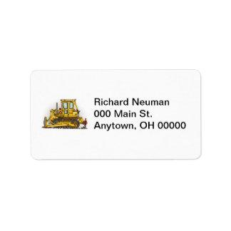 Bulldozer Dozer Personalized Address Label