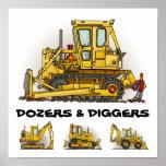 Bulldozer Dozers Diggers Poster Print