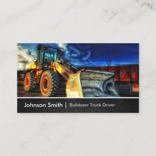 bulldozer excavator construction truck driver business card