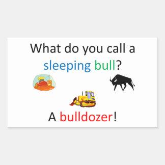 Bulldozer joke rectangular sticker