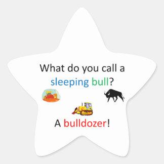 Bulldozer joke star sticker