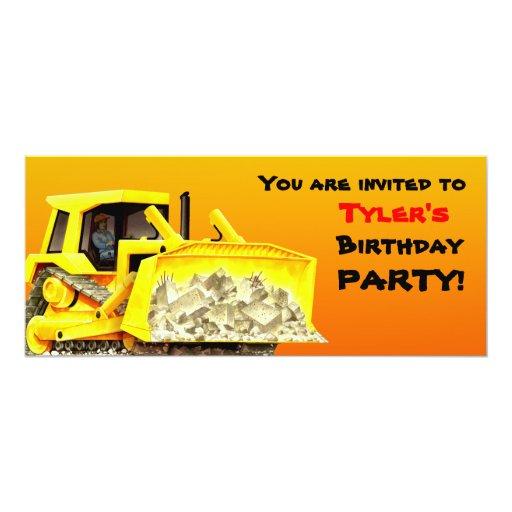 Bulldozer Party Invitation