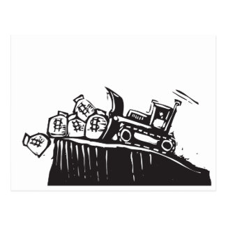 Bulldozing Money Postcard