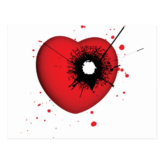 Bullet Hole Heart Postcard