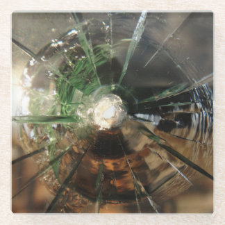 Bullet hole in glass, coaster