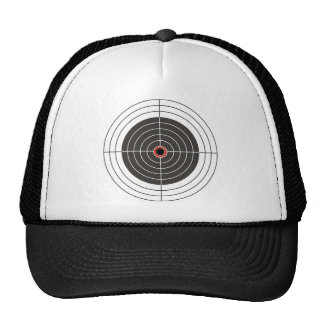 Bullet hole in the target - bull's eye shooting hats