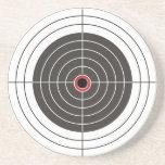 Bullet hole in the target - bull's eye shooting sandstone coaster