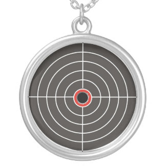 Bullet hole in the target - bull's eye shooting silver plated necklace