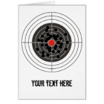Bullet holes in target - but not the bulls-eye! greeting cards