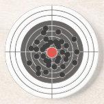 Bullet holes in target - but not the bulls-eye! beverage coasters